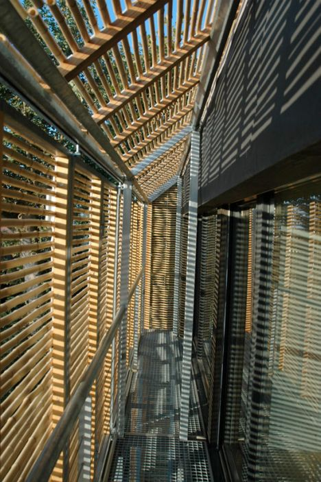 Bamboo external shading screens for France's First Passivhaus by Karawitz Architecture