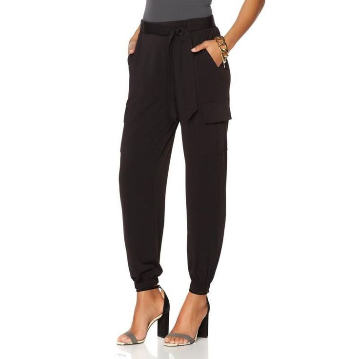 Serena Williams Jersey Cargo Pant Self-Tie Belt Jersey Knit BLACK 2X #SerenaWilliams #Cargo