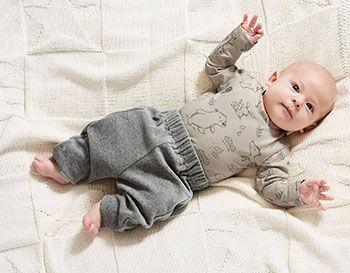 Stretch jersey sand med dyrebørn - Stof & Stil