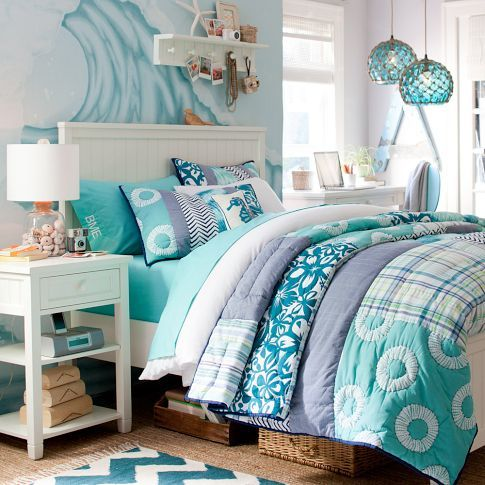 Glass Buoy Pendant-and love the bedding! Waves crashing above your head!