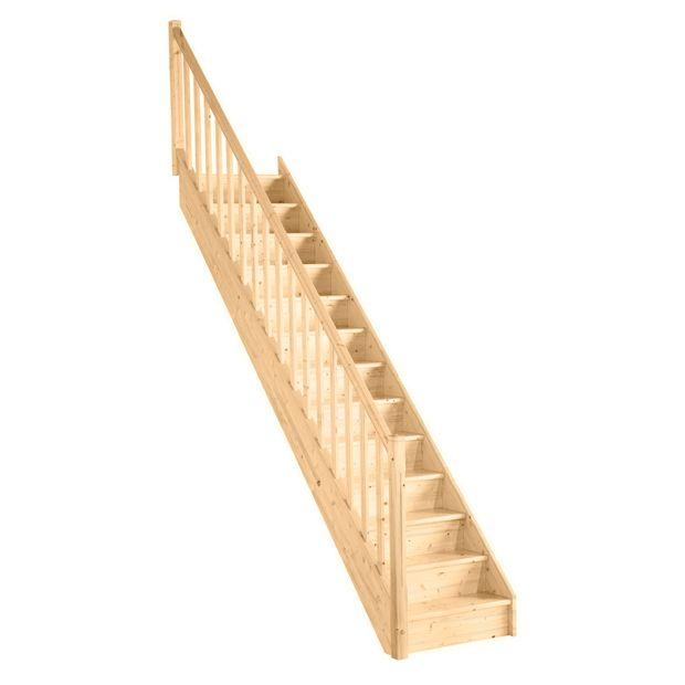 escalier droit uno sapin massif rampe fuseaux droits. Black Bedroom Furniture Sets. Home Design Ideas