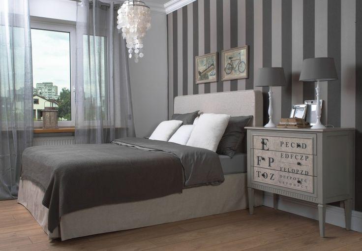 Przykładowa aranżacja sypialni  klasyczne i stonowane barwy w połączeniu z pelem Marco O'Polo