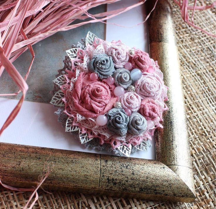 Купить Текстильная брошь Любимый букет - Елена Кожевникова, текстильная брошь, текстильная бохо-брошь