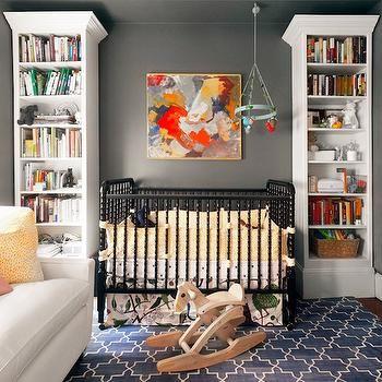 Black Jenny Lind Crib, Contemporary, nursery, Farrow & Ball Down Pipe, Erin Gates Design
