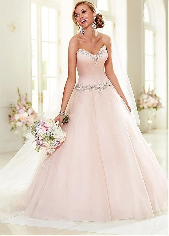 Elegant Satin & Tulle Sweetheart Neckline Ball Gown Wedding Dress With Beadings & Rhinestones $317.99 Wedding Dresses