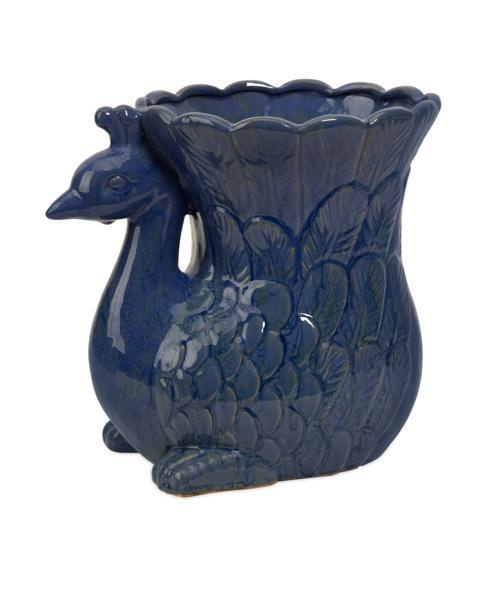 """Viola Peacock Ceramic Planter - In ancient cultures peacocks were often kept as ornaments in large gardens and estates because of their colorful plumage. Add your own color to the tail feathers of the Viola Peacock Ceramic Planter by planting colorful flowers or greenery. Material: 100% Ceramic. 12.25""""h x 13.75""""w x 10""""."""
