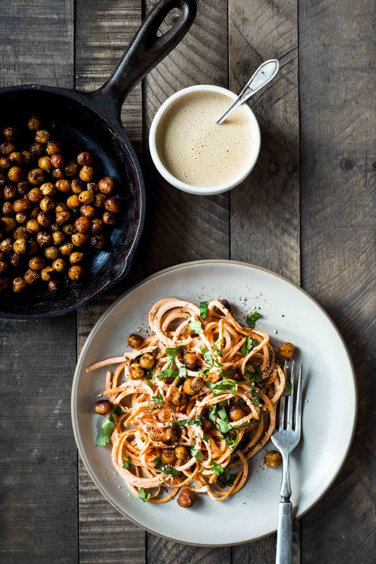 SWEET POTATO NOODLES WITH FRIED CHICKPEAS