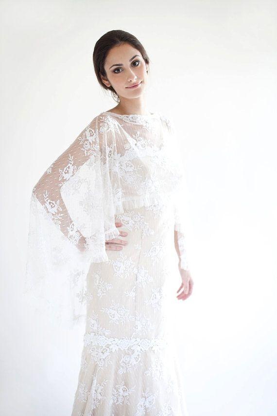 Daisy beaded cape caplet cover up bridal cape wedding for Cover up wedding dress