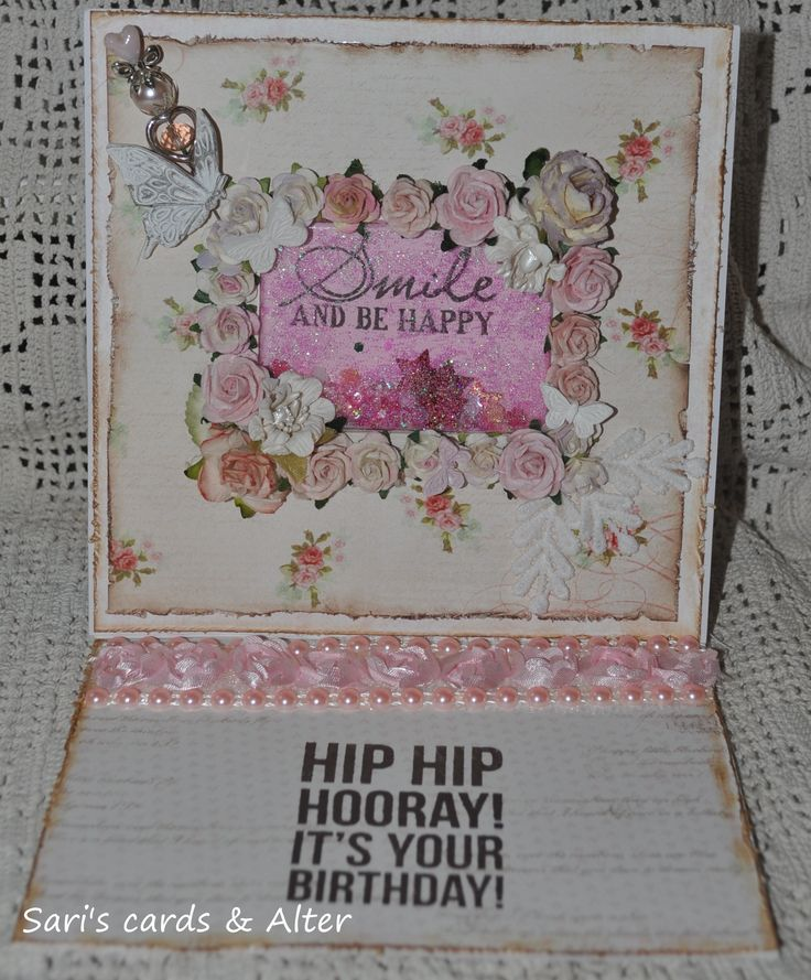 Shabby chic shaker/easel card,pink,roses,girly,lace,bling