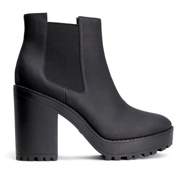 H&M Platform boots (105 BRL) ❤ liked on Polyvore featuring shoes, boots, ankle booties, heels, sapatos, zapatos, black, chunky platform boots, chunky heel ankle booties and high heel boots