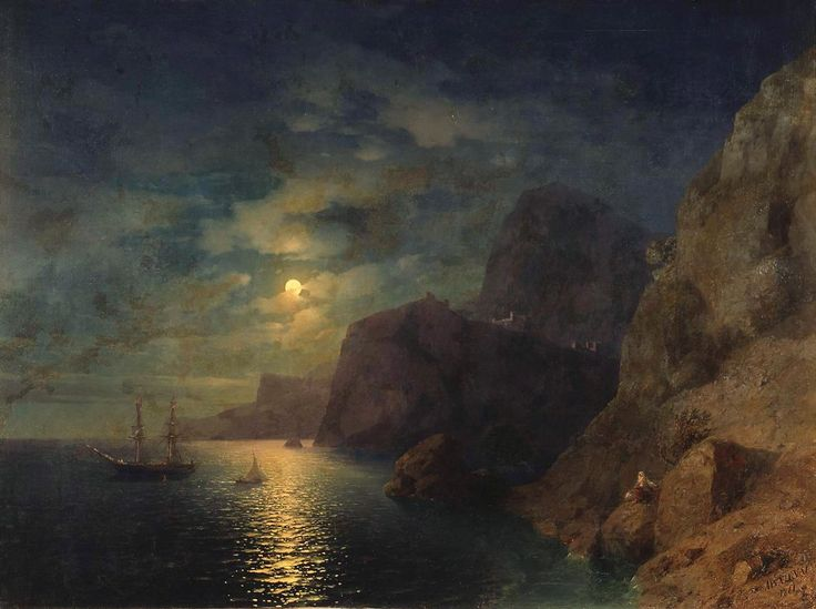 Moonlit Night on the Crimea. Gurzuf - Ivan Aivazovsky - WikiPaintings.org