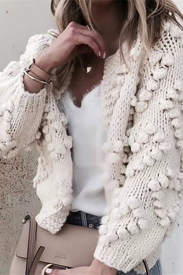 Winter Sweater Wedding Sweater Off White Pullover Merino Wool Sweater Sweater With Dots Hand Knitted Sweater Pom Pom Sweater