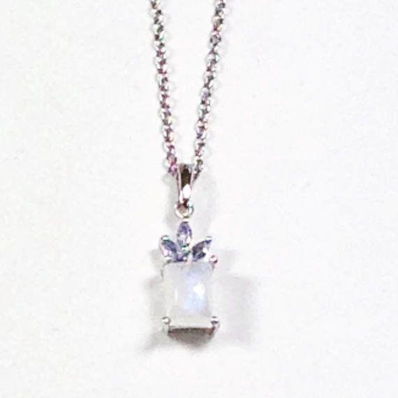 Rainbow Moonstone and Tanzanite Necklace in Platinum Handmade