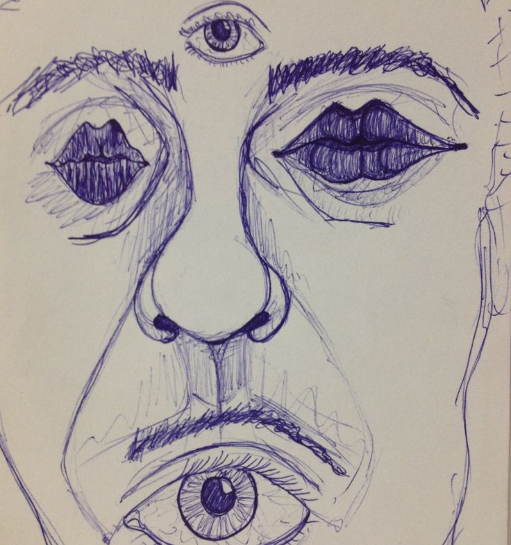self-portrait blue pen