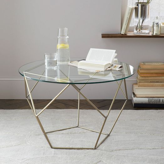 Origami Side Table - Glass/Antique Brass