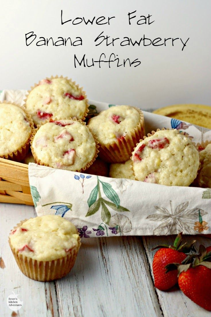 Lower Fat Banana Strawberry Muffins | Renee's Kitchen Adventures - moist and healthy, a great recipe for a sweet treat for breakfast or any time of the day!