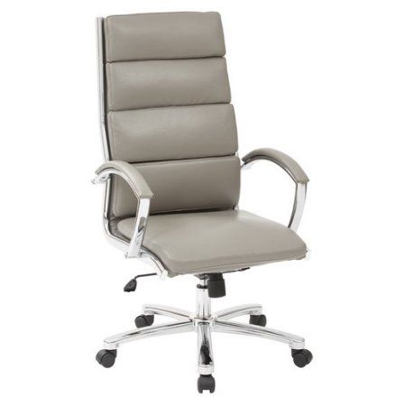 Office Star High Back Executive Smoke Faux Leather Chair with Polished Aluminum and Padded Arms and Base, Gray