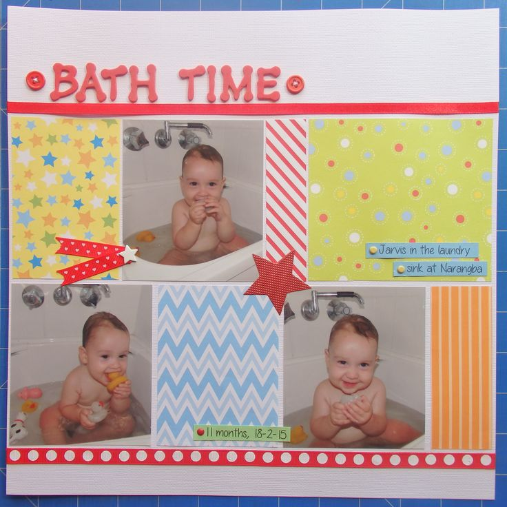 Scrapbook page by Laura: Bath time