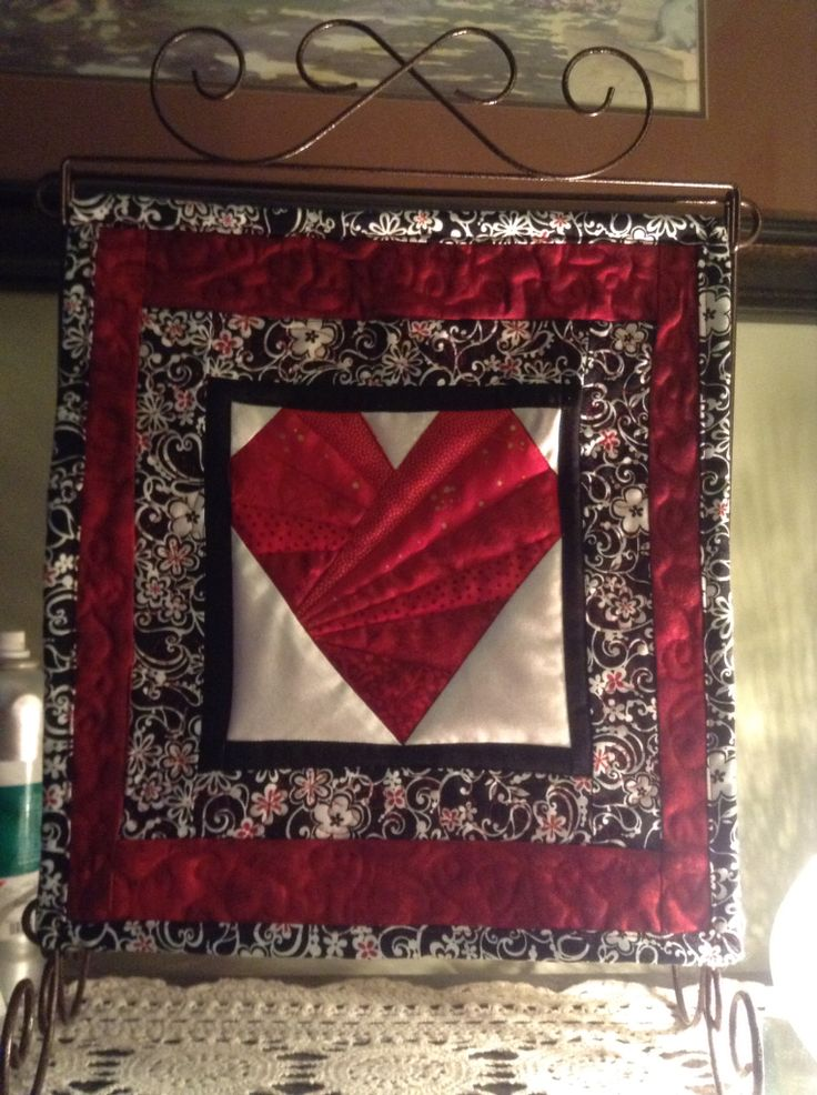 My February mini quilt.  Paper pieces heart