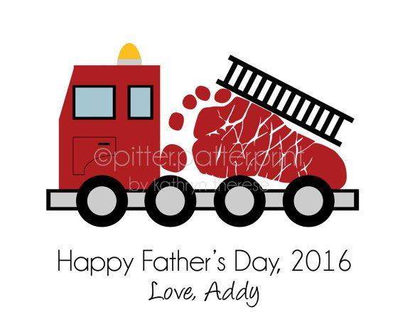 Fire Truck Nursery Art Print Baby Footprint Firetruck Boys
