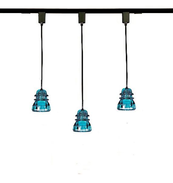 lightolier track lighting pendant adapter portfolio linear kit custom industrial antique glass insulator lights blue
