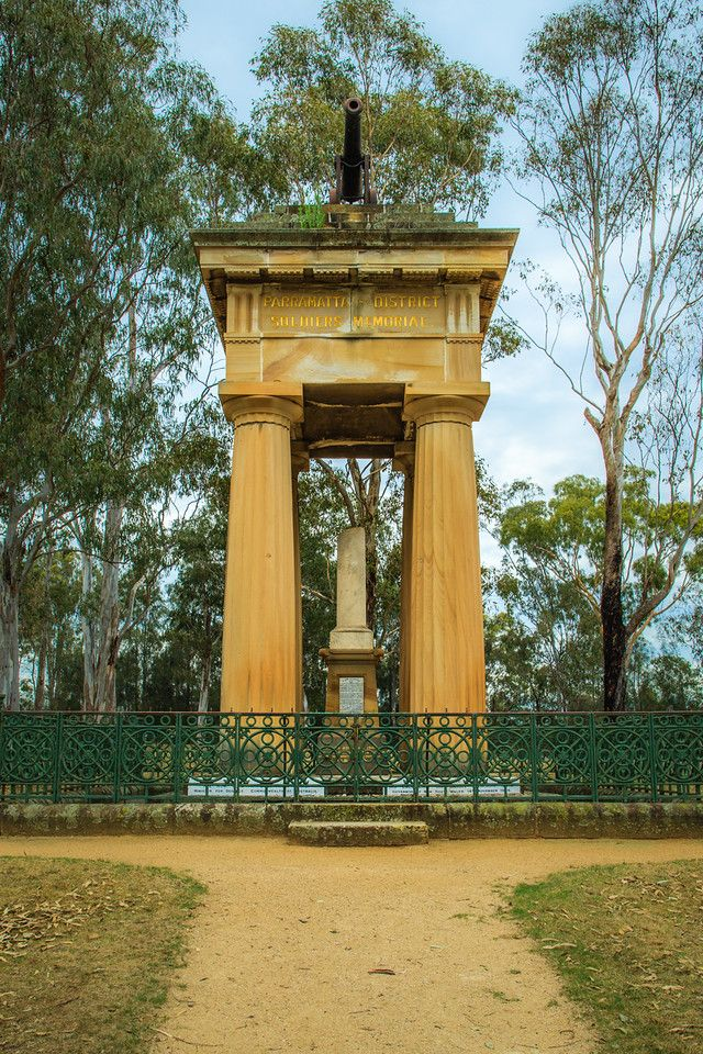 The Boer War Memorial (originally called the 'Soldiers Memorial') was erected in 1904. Parramatta Park, NSW, Australia