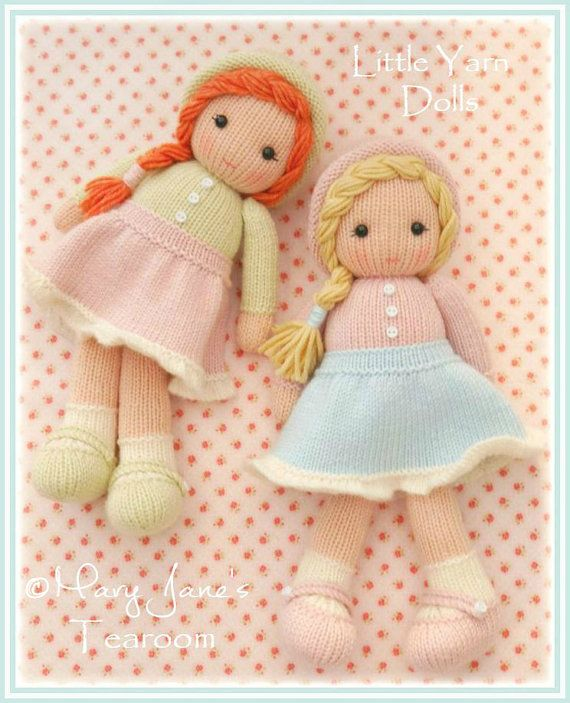 Pattern is written in ENGLISH and can be INSTANTLY downloaded following purchase.  The dolls are created using basic knitting stitches and are