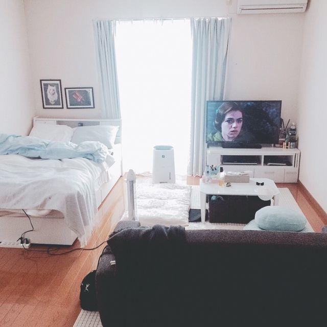 chackyさんの、部屋全体,一人暮らし,ニトリ,1K,水色,noce,ホワイト,グレー,除湿機,セミダブルベッド,ライトブルー,ブルーが好き,ものの少ない暮らし,一人暮らし10ヵ月,のお部屋写真