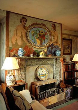 Charleston - home and meeting place of the Bloomsbury group - interior painted by Duncan Grant and Vanessa Bell