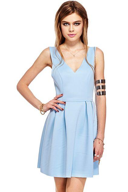 ROMWE | ROMWE Deep V-Neck Sheer Puff Sleeveless Blue Dress, The Latest Street Fashion  #Romwe