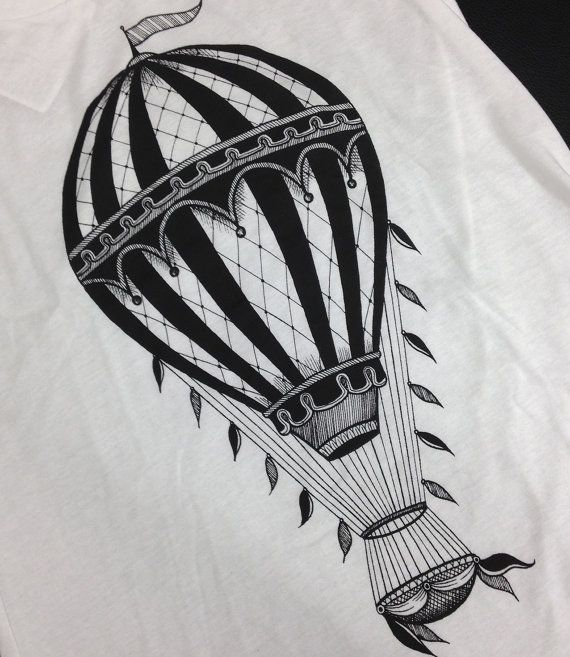 T shirt for ladies with vintage hot air balloon by Hardtimestore