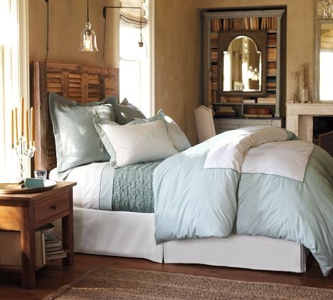 Bedding: Guest Room, Potterybarn, Guest Bedrooms, Shutters Headboards, Colors, Duvet Covers, Master Bedrooms, Beds Linens, Pottery Barns