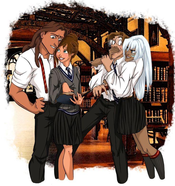 Tarzan, Jane, Milo, and Kida. | 26 Disney Characters Reimagined As Hogwarts Students