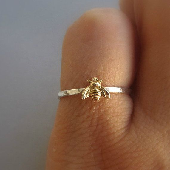 Simple tiny sterling silver bee ring, silver and gold brass stacking ring, hammered band ring. Cute and tiny brass bumble bee is attached to a sterling