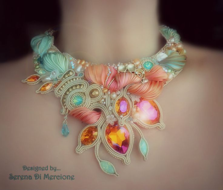 """""""Sherbet"""" Necklace by Serena Di Mercione  --- beadembroidery, soutache, shibori silk, swarovski ---- mint and orange"""