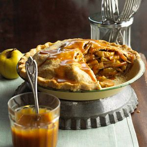 Mile-High Caramel Apple Pie:  Four pounds of apples go into this towering pie—but you don't have to peel a single one. Just slice the fruit and pile it up. Oats baked into the flour crust add a rustic touch, while warm caramel sauce drizzled on top provides extra sweetness.