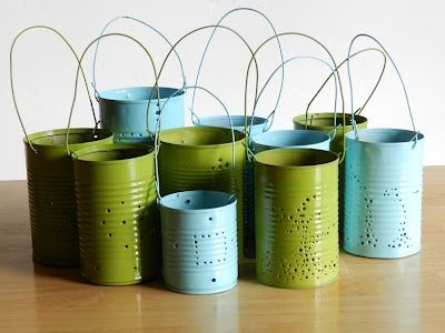 DIY Tin Can Lanterns Using Recycled Tin Cans
