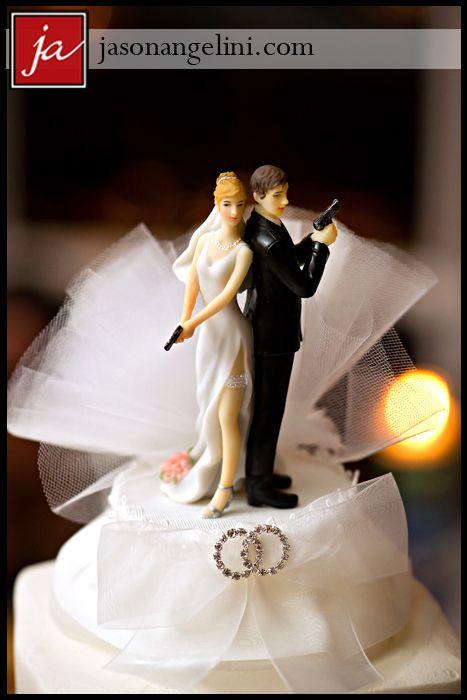 Fun Wedding cake topper with guns!!