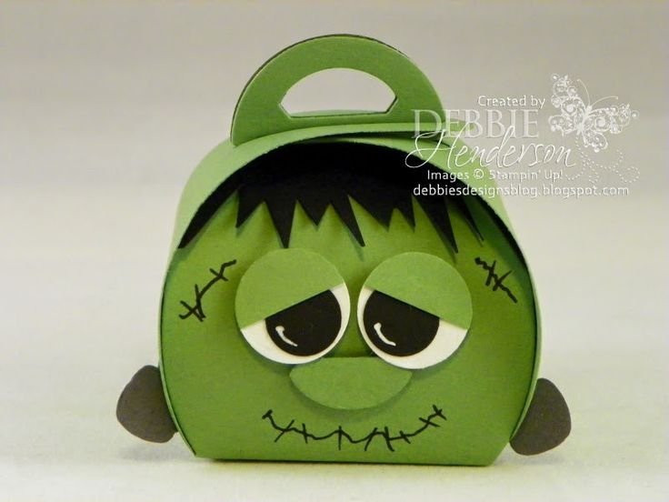 Halloween Frankenstein made with Stampin' Up! Curvy Keepsakes Box Die. Debbie Henderson, Debbie's Designs.