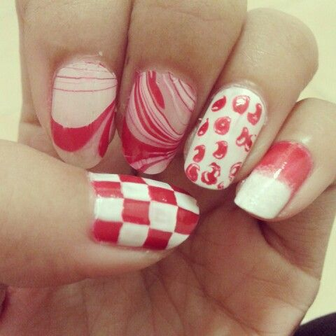 Nails arts Red n White like a flag of Indonesia
