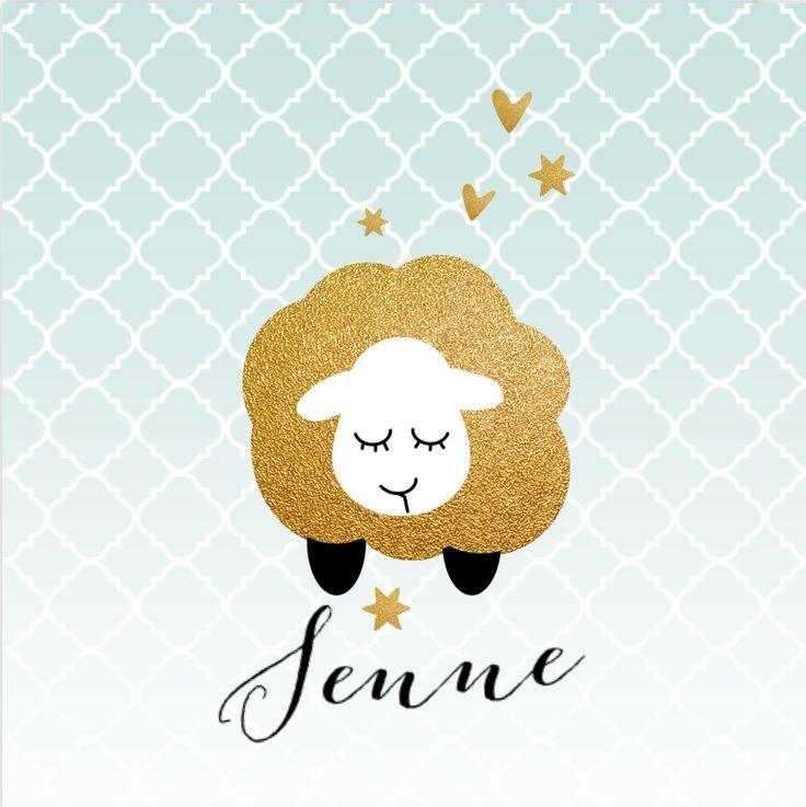 LOVZ | Schaapjes geboortekaartje met goud look, hartjes en sterren voor een jongen! Met Marokkaanse print op de ondergrond. Alles staat los en is te bewerken