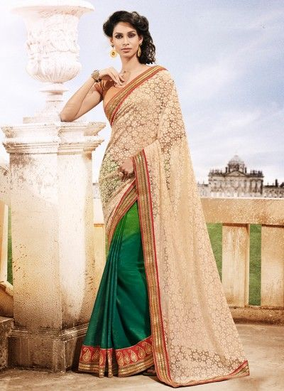 Cream and Green Faux Georgette and Net Designer Saree