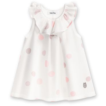 Baby Dior. Cotton voile and pre-washed silk dress printed with white polka dots. 3 Months