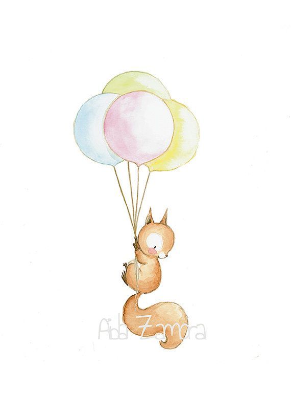 "Children's Art ""SQUIRREL WITH BALLOONS"" Nursery Decor, Squirrel nursery art, Kid's Balloon Art, Nursery balloons prints, Aida Zamora"