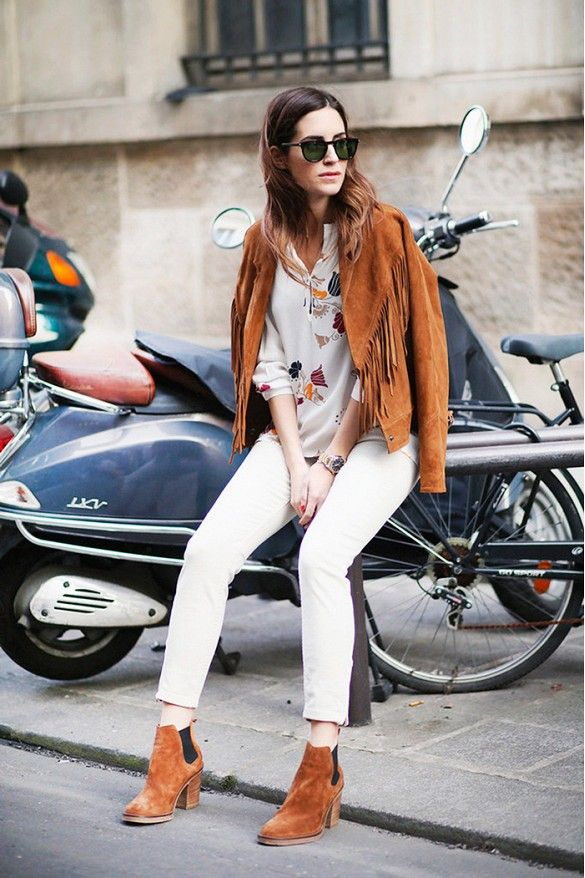 Silky printed blouse, white cropped pants, suede fringe jacket and suede ankle boots