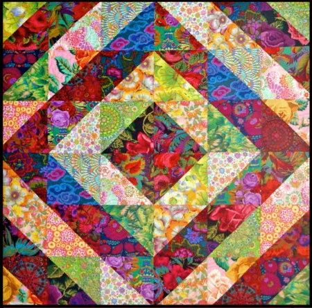 RED & PASTEL TOWER Bridge Garden Quilt Kit   by SewColorfulQuilts