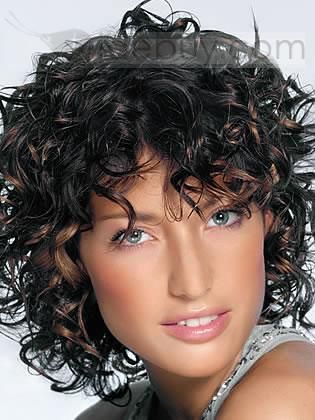 African American Popular Hairstyle Medium Curly about 9Inches Dark Blonde Perfect Wig