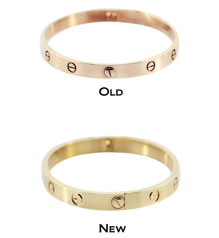 We compared one of our older style rose gold Love bangles to a new style yellow gold Love bangle so you can see the small differences between the two.