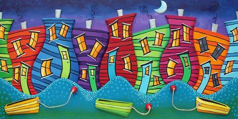 "Downtown Dancing Houses 12"" x 24""- Grumpy Goat Gallery $120"