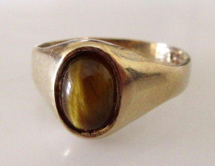 9ct Gold Tigers Eye Signet Ring by Britishgoldandsilver on Etsy